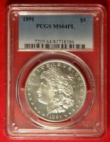 1891 $1 PCGS MINT STATE 64 PL GEM UNCIRCULATED PROOF LIKE MORGAN SILVER DOLLAR COIN