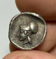 ANCIENT GREEK COIN SILVER DRACHM HEAD OF ATHENA   PICASSOS