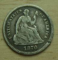 1870 LIBERTY SEATED SILVER HALF DIME   H10C   NO RESERVE