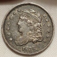1837 CAPPED BUST HALF DIME  FINE LM-1 RPD LARGE 5C H10C VARIETY COIN