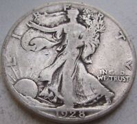 1928-S WALKING LIBERTY SILVER HALF DOLLAR IN A SAFLIP - FINE- VG - LARGE S