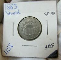 1883   SHIELD NICKEL 5C   EXTREMELY FIINE  XF    GREAT COIN