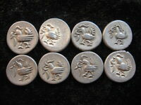 8 SMALL OLD SILVER COIN LOT CAMBODIA 1/8 TICAL FUANG 1847 KM