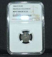 1844-O SEATED 1/2 HALF DIME  NGC VF-25  H10C MINT ERROR   TRUSTED