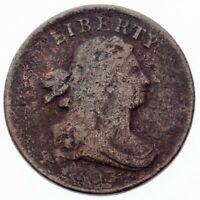 1803 1/2C HALF CENT, AG CONDITION, DATE IS WEAK BUT READABLE