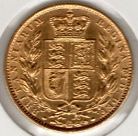 QUEEN VICTORIA 1863 FULL GOLD SHIELD SOVEREIGN   SUPERB COIN