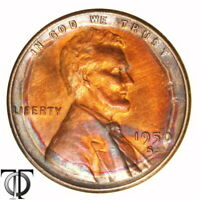 1950 S  LINCOLN WHEAT CENT MONSTER RAINBOW TONING 1.503