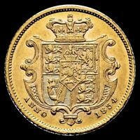 GREAT BRITAIN   1834 HALF SOVEREIGN WILLIAM IV