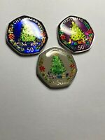 ENAMELLED COIN 50P FIFTY PENCE 3 COINS  CHRISTMAS TREE 2016