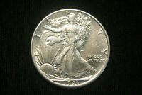 1943 WALKING LIBERTY HALF DOLLAR, AU ABOUT UNCIRCULATED, 90 SILVER