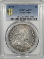 1798 DRAPED BUST DOLLAR - LARGE EAGLE PCGS AU-53