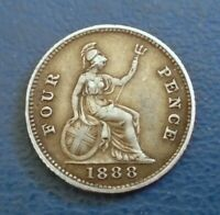 1888 QUEEN VICTORIA JUBILEE HEAD GROAT FOURPENCE .925 SILVER   HIGH GRADE