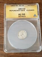 1863 HALF DIME ANACS GRADED AU 55 DETAILS  REPUNCHED DATE/CL