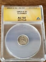 1863 S HALF DIME ANACS GRADED AU 50 DETAILS  CLEANED