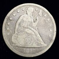 1860-O SEATED LIBERTY SILVER DOLLAR $1 IN FINE CONDITION