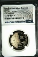2019 S REVERSE PROOF AMERICAN INNOVATION DOLLAR DELAWAREDE NGC-70