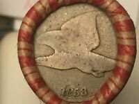 WHEAT/INDIAN HEAD PENNY ROLL WITH 1909VDB & 1858 FLYING EAGL