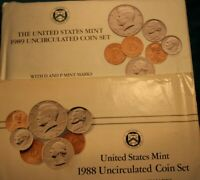 1988 & 1989 UNITED STATES MINT UNCIRCULATED COIN SETS WITH D