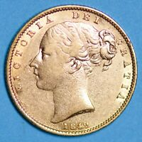 1849 QUEEN VICTORIA YOUNG HEAD SHIELD GOLD SOVEREIGN