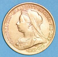 LUSTROUS 1900 QUEEN VICTORIA VEILED HEAD SHIELD GOLD HALF SO