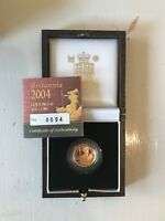 CHOICE PROOF 2004 PROOF GOLD 1/10TH OUNCE BRITANNIA   BOX &