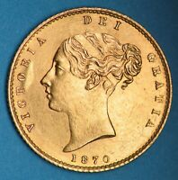 CHOICE 1870 QUEEN VICTORIA YOUNG HEAD GOLD HALF SOVEREIGN