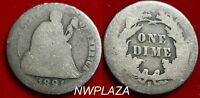 1891 S SEATED LIBERTY SILVER DIME CIRCULATED - LAST YEAR MINTAGE  710L