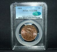 1818 LARGE CENT  PCGS MS 64 RB CAC  1C CHOICE UNC CORONET HEAD N 10 TRUSTED
