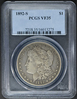 1892-S MORGAN DOLLAR VF35 PCGS CERTIFIED US SILVER $1 COIN