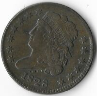 1828 COPPER HALF PENNY CLASSIC 13 THIRTEEN STARS CENT UNITED STATES MINT SCANS