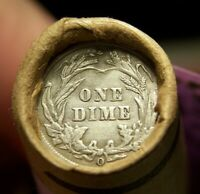O BARBER DIME TAIL /1882 INDIAN HEAD CENT ENDS ON ROLL OF 50