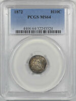 1872 LIBERTY SEATED HALF DIME PCGS MINT STATE 64