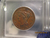 1855 ICG  BRAIDED HAIR LARGE CENT  EXTRA FINE -45  UPRIGHT 5'S