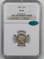 1883 PROOF THREE CENT NICKEL NGC PF-65 CAC APPROVED