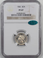 1882 PROOF THREE CENT NICKEL NGC PF-67 CAC APPROVED