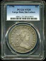 1796 $1 DRAPED BUST SILVER DOLLAR LARGE DATE SMALL LETTERS VF25 PCGS 38163851