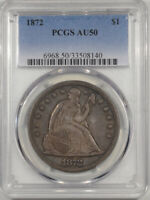 1872 SEATED LIBERTY DOLLAR PCGS AU-50