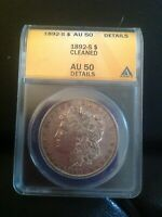 1892-S MORGAN SILVER DOLLAR CERTIFIED ANACS AU 50 ALMOST UNCIRCULATED