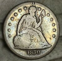 1870 SEATED LIBERTY DOLLAR GOOD FANTASTIC TONING ON THIS ORIGINAL LOOKIN COIN