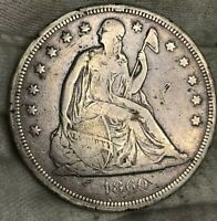 1860-O SEATED LIBERTY DOLLAR FINE FULL LIBERTY BE ARE WEAK TOUGH COIN