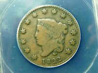 1822 CORONET HEAD LARGE CENT -  ANACS VG10
