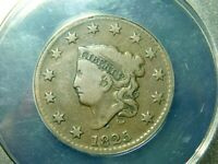 1825 CORONET HEAD LARGE CENT -  ANACS VG10