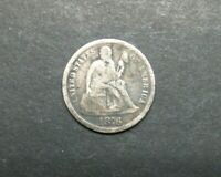 1876-CC 10C SEATED LIBERTY ONE DIME SILVER US COIN M2308