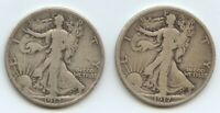 1917 P & S REV. WALKING LIBERTY 50C 11109 BOTH FINE.