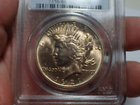 1921 PCGS MINT STATE 64 PEACE SILVER DOLLAR HIGH RELEIF  TONING