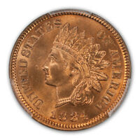 1884 1C INDIAN CENT - TYPE 3 BRONZE PCGS MINT STATE 66RD CAC