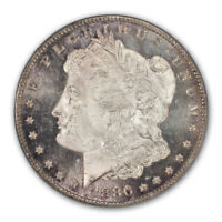 1880/9-S $1 OVERDATE MORGAN DOLLAR PCGS MINT STATE 66 CAC