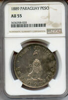 1889 PARAGUAY PESO LION  TONED LUSTER NGC AU 55.