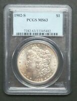 1902-S $1 MORGAN SILVER DOLLAR US COIN PCGS MINT STATE 63 M2564