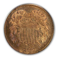 1870 2C TWO CENT PIECE PCGS PR65RB